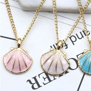 Jewelry - Tropical Baby Pink Seashell Charm Gold Necklace
